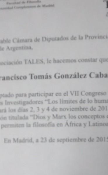 Nuevamente desde la Complutense de Madrid, aceptan a intelectual Correntino.