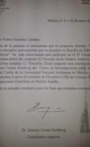 18°Aceptación para texto de Francisco Tomás González Cabañas