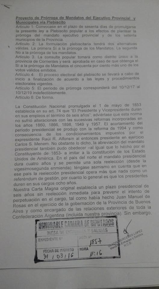 Presentan Proyecto de Prórroga vía Plebiscito