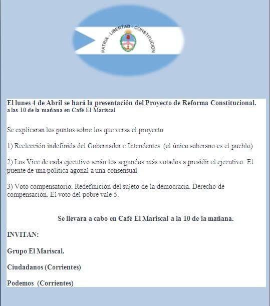 Presentarán anteproyecto de Reforma de la Constitución Provincial.