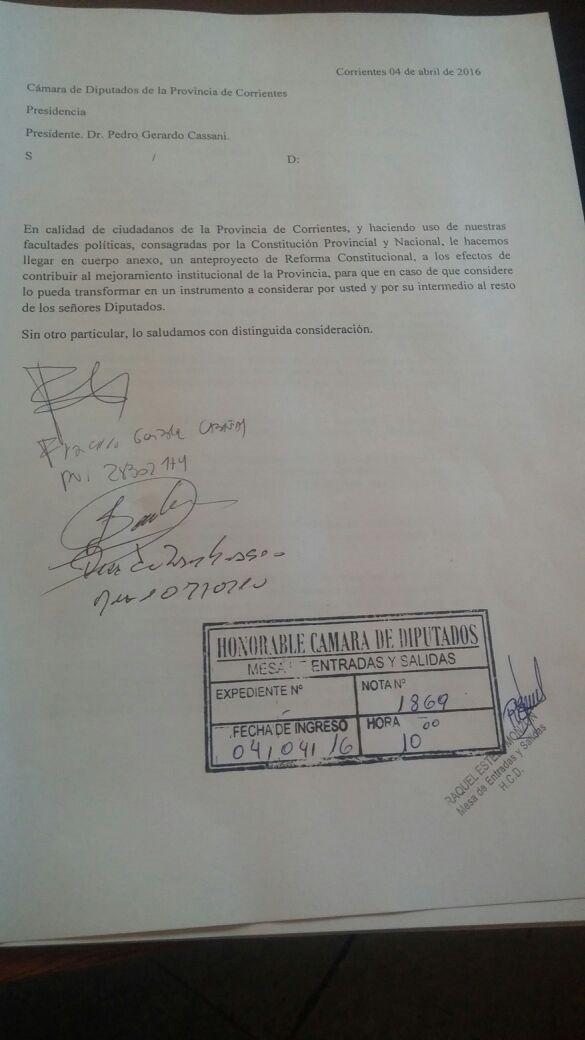 Se presentó el Proyecto de Reforma Constitucional.