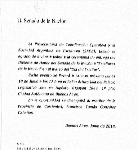 El Senado de la Nación y la Sade distinguirán a ensayista correntino.