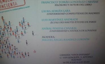 Libro de Correntino se presenta en Madrid.