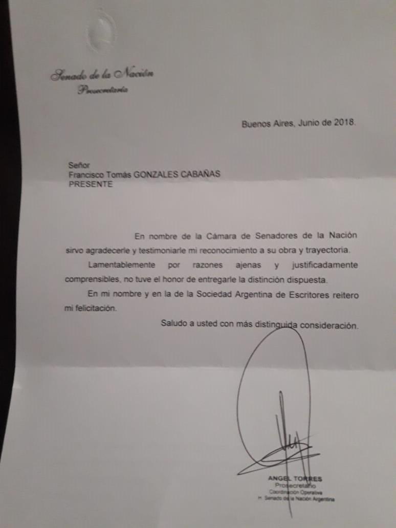 Reconocimiento y felicitación desde el Senado de la Nación y la Sade a la obra de Francisco González Cabañas.