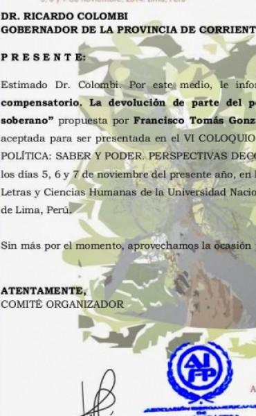 Noveno Congreso de Filosofía (Puebla, México) que acepta tesis de Francisco Tomás González Cabañas