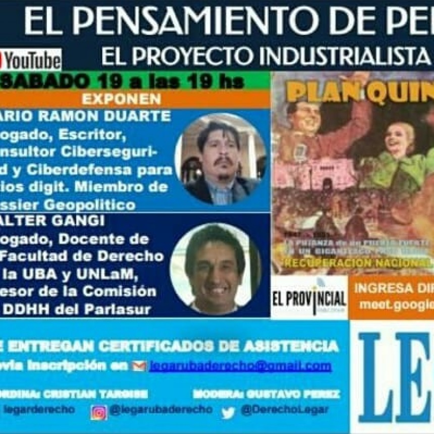 JORNADA LEGAR DERECHO UBA: PERON Y CUARTA REVOLUCIÓN INDUSTRIAL