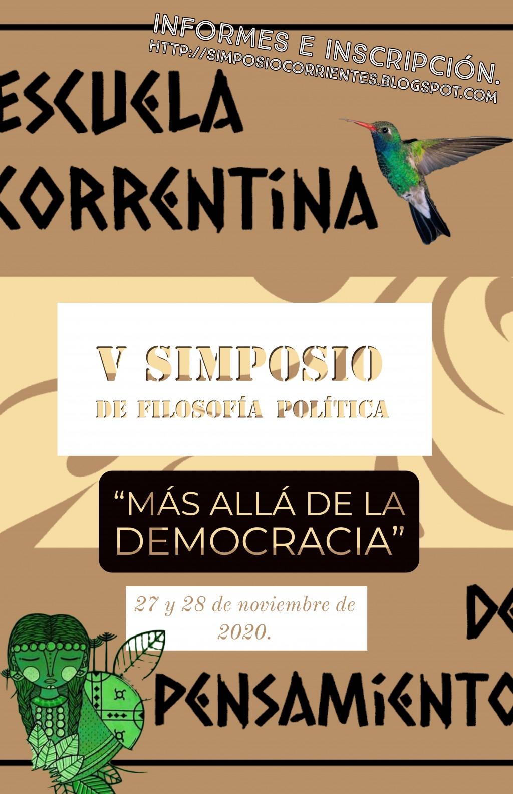 """V Simposio de filosofía política """"Más allá de la democracia""""."""