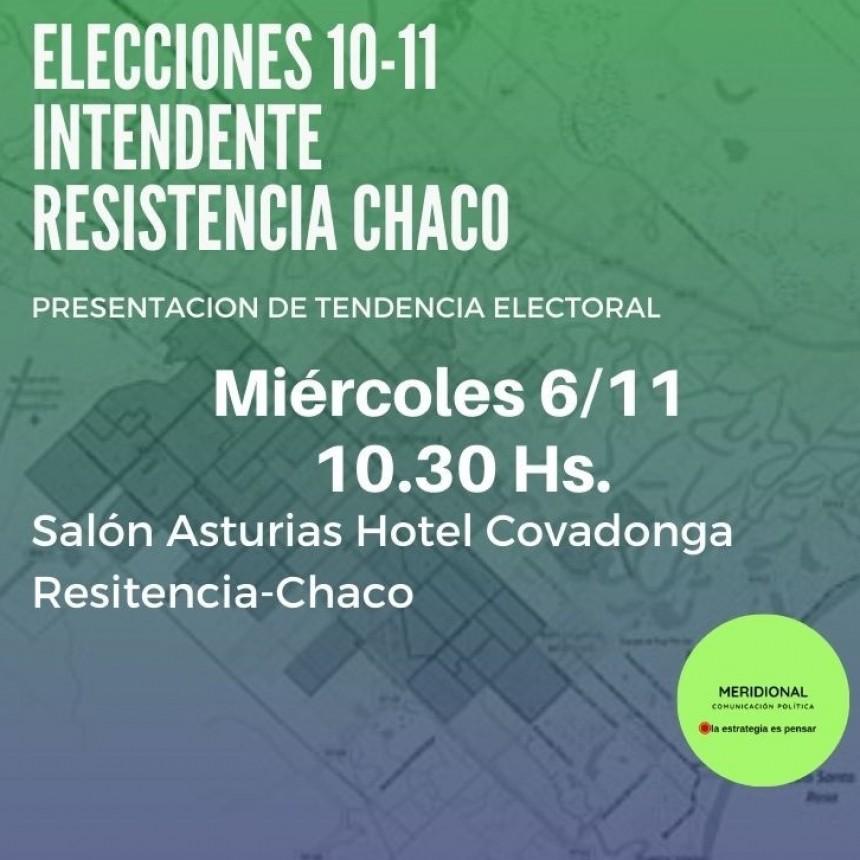 """Presentación de """"tendencia electoral"""" de la elección a Intendente de Resistencia."""