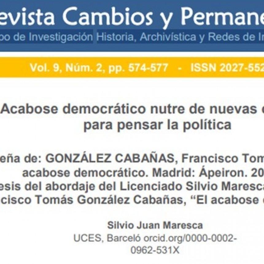 Publican en revista científica de Universidad Colombiana reseña de libro de Francisco González Cabañas.